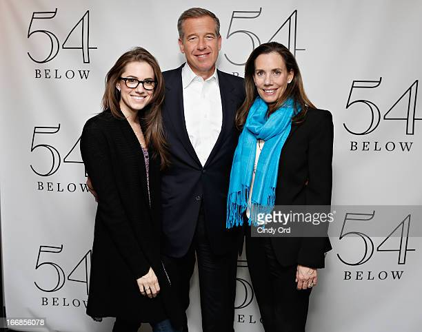 Actress Allison Williams poses with her parents news anchor Brian Williams and radio host/ producer Jane Stoddard Williams backstage following Rita...