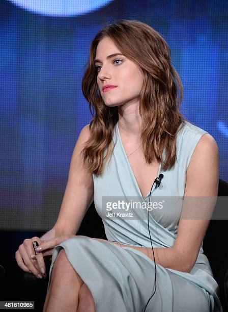 Actress Allison Williams speaks onstage at the Girls panel during the HBO Winter 2014 TCA Panel at The Langham Huntington Hotel and Spa on January 9...