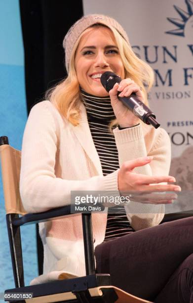 Actress Allison Williams speaks onstage during the 2017 Sun Valley Film Festival 'Coffee Talk with Allison Williams' on March 17 2017 in Sun Valley...