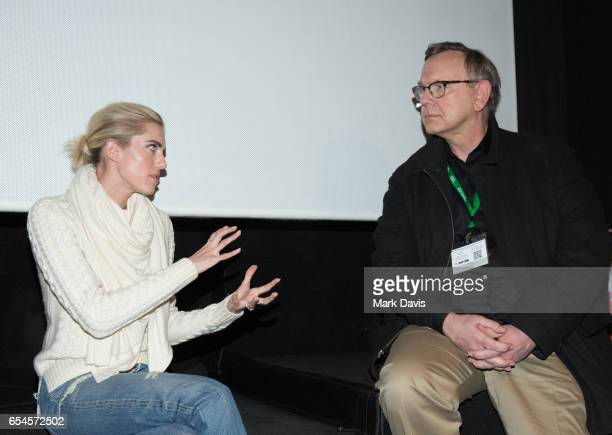 Actress Allison Williams speaks to reporter George Prentice during the QA session for the film 'Get Out' at the 2017 Sun Valley Film festival held...