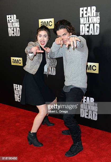 Actress Ally Ioannides and actor Aramis Knight arrive for the Premiere Of AMC's 'Fear The Walking Dead' Season 2 held at Cinemark Playa Vista on...