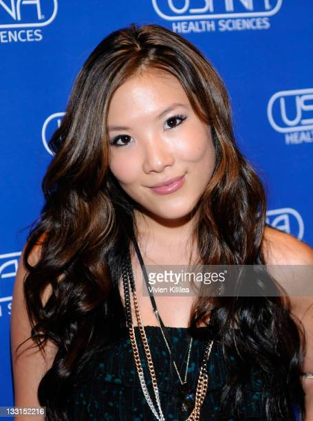 Actress Ally Maki poses with USANA during Kari Feinstein MTV Movie Awards Style Lounge at W Hollywood on June 2 2011 in Hollywood California