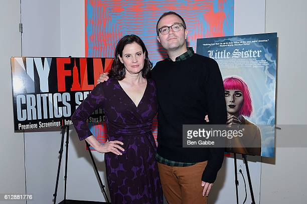 Actress Ally Sheedy and actor/director Zach Clark attend the New York Film Critics Series 'Little Sisters' QA at The Core Club on October 5 2016 in...
