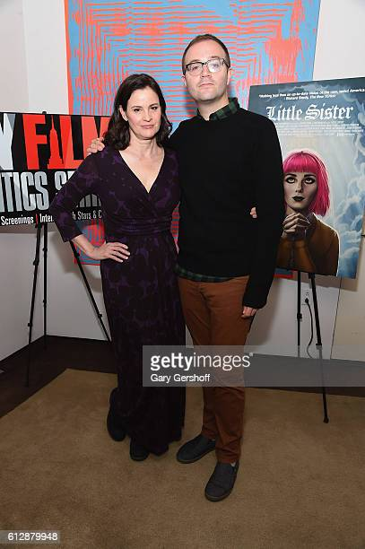 Actress Ally Sheedy and director Zach Clark attend the New York Film Critics series 'Little Sisters' QA at The Core Club on October 5 2016 in New...