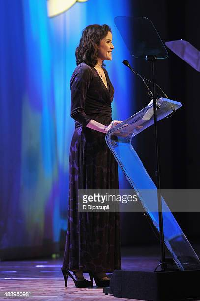 Actress Ally Sheedy speaks onstage at the PFLAG National Straight For Equality Awards at Marriott Marquis Times Square on April 10 2014 in New York...