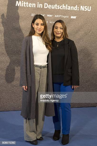 Actress Almila Bagriacik and the daughter of the first victim of NSU Semiya Simsek attend the premiere of 'Mitten in Deutschland: NSU' , the movie...