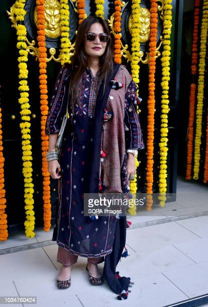 Actress Alvira Agnihotri seen at Ekta Kapoor house for Ganpati darshan in Mumbai
