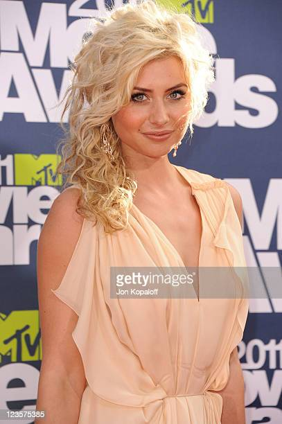 Actress Aly Michalka arrives at the 2011 MTV Movie Awards at Gibson Amphitheatre on June 5 2011 in Universal City California