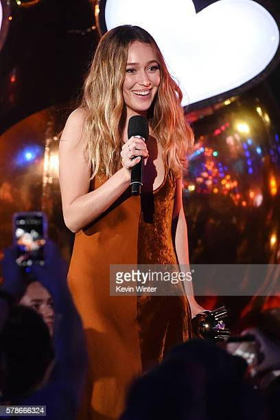 Actress Alycia Debnam Carey accepts the Fan Freakout of the Year award on stage at the MTV Fandom Awards San Diego at PETCO Park on July 21 2016 in...