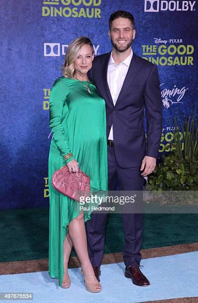 "Actress Alyshia Ochse and husband Lee Knauz arrive at the Premiere of Disney-Pixar's ""The Good Dinosaur"" on November 17, 2015 in Hollywood,..."