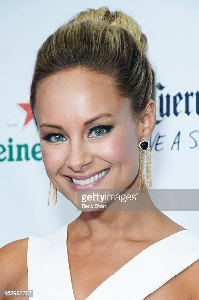 Actress Alyshia Ochse arrives at OK! TV Emmy pre-awards party honoring the Emmy nominees and presenters at Sofitel Hotel on August 21, 2014 in Los...