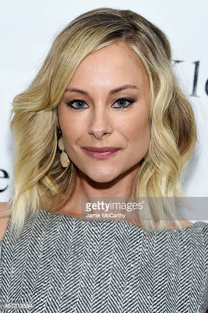 Actress Alyshia Ochse attends front row at The Mark Zunino For Kleinfeld 2015 Runway Show at Kleinfeld on October 14 2014 in New York City