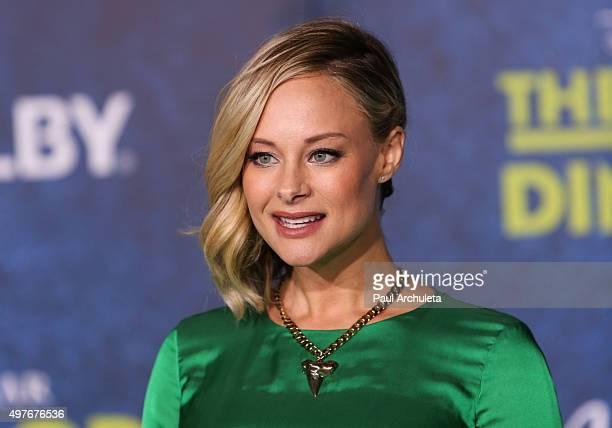 "Actress Alyshia Ochse attends the premiere of Disney-Pixar's ""The Good Dinosaur"" on November 17, 2015 in Hollywood, California."