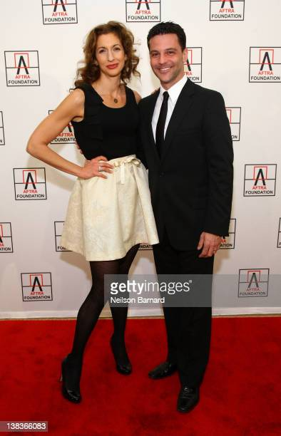 Actress Alysia Reiner and actor David Alan Basche attend the AFTRA Foundation's 2012 AFTRA Media and Entertainment Excellence Awards in the Grand...