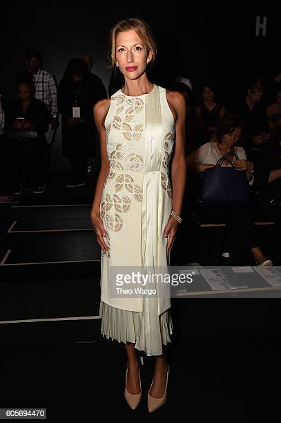 Actress Alysia Reiner attends the Bibhu Mohapatra fashion show during New York Fashion Week The Shows at The Dock Skylight at Moynihan Station on...