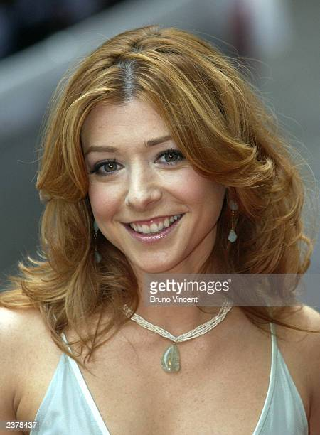 Actress Alyson Hannigan arrives at the UK premiere of 'American Wedding' the third installment in the 'American Pie' films August 7 2003 in London