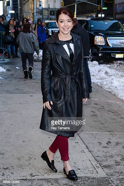 """Actress Alyson Hannigan enters the """"Late Show With David Letterman"""" taping at the Ed Sullivan Theater on February 17, 2014 in New York City."""