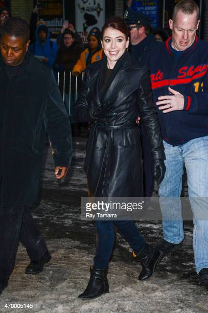 Actress Alyson Hannigan leaves the 'Late Show With David Letterman' taping at the Ed Sullivan Theater on February 17 2014 in New York City