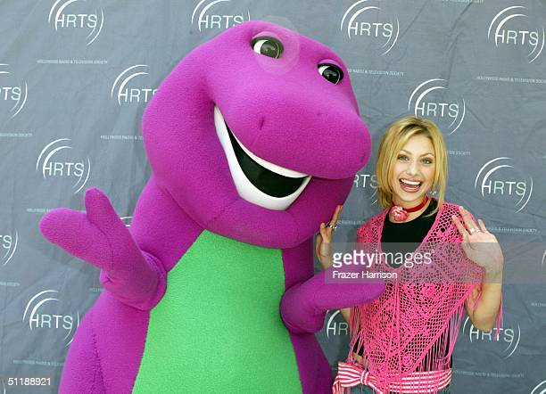 Actress Alyson Michalka and Barney attend the Hollywood Radio and Television Society 10th annual Kids Day held at the Hollywood and Highland complex...