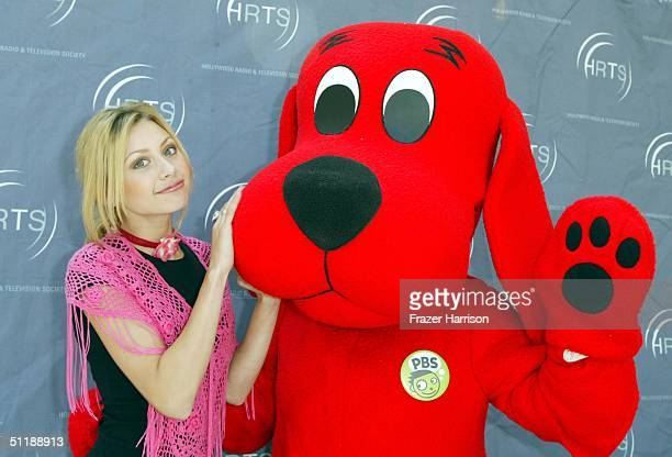 Actress Alyson Michalka and Clifford the Big Red Dog attend the Hollywood Radio and Television Society 10th annual Kids Day held at the Hollywood and...