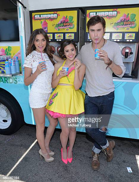 Actress Alyson Stoner singer/songwriter Megan Nicole and actor Ryan McCartan attend a celebratrion of 7Eleven Day in promotion of the film 'Summer...