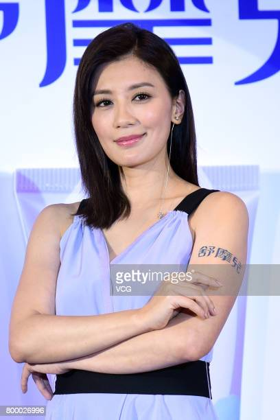 Actress Alyssa Chia attends the endorsement event of health care brand on June 22 2017 in Taipei Taiwan of China