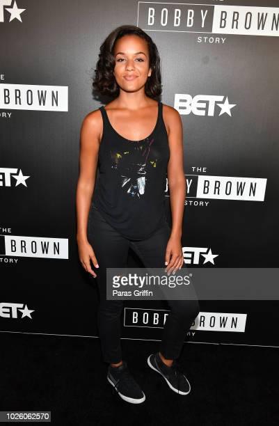 Actress Alyssa Goss attends The BobbyQ Atlanta Premiere Of The Bobby Brown Story at Atlanta Contemporary Arts Center on September 1 2018 in Atlanta...