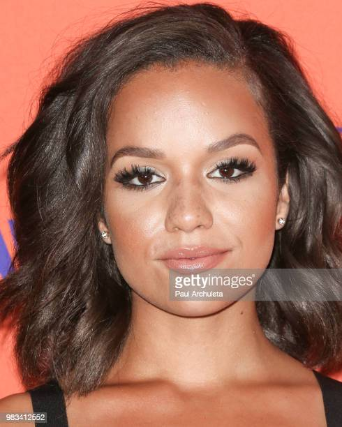 Actress Alyssa Goss poses for photos in the press poom at the 2018 BET Awards at Microsoft Theater on June 24 2018 in Los Angeles California