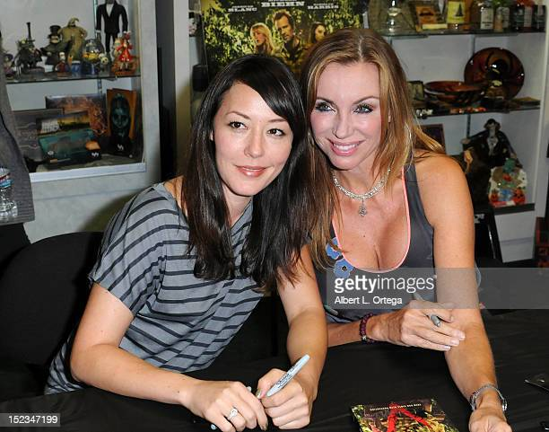 Actress Alyssa Lobit and actress Tanya Newbould participate in the DVD Signing for Anchor Bay's The Victim Michael Biehn directorial debut held at...
