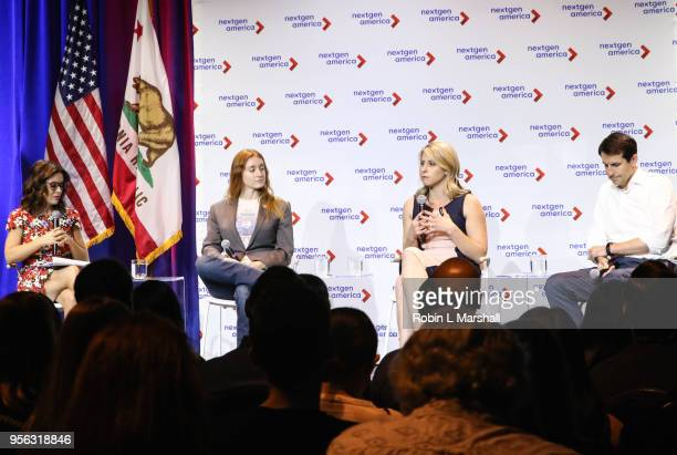 Actress Alyssa Malino Politicians Jess Phoenix Katie Hill and Bryan Caforio attend the 25th Congressional District Democratic Candidate Debate...