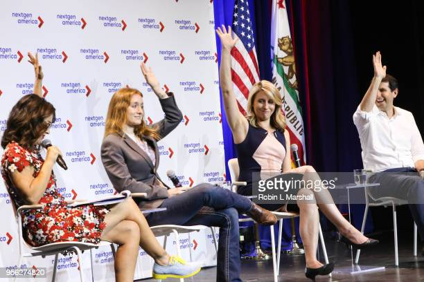 Actress Alyssa Milano and candidates Jess Phoenix Katie Hill and Bryan Caforio attend the 25th Congressional District Democratic Candidate Debate...
