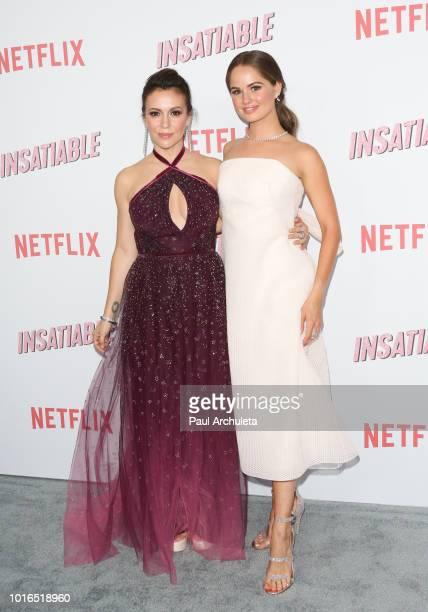 Actress Alyssa Milano and Debby Ryan attend Netflix's Insatiable season 1 premiere at ArcLight Hollywood on August 9 2018 in Hollywood California