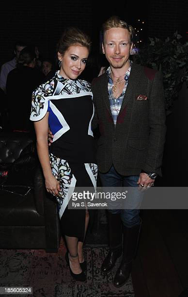 Actress Alyssa Milano and designer Eric Daman attend the Project Runway All Stars Season 3 premiere party presented by The Weinstein Company and...