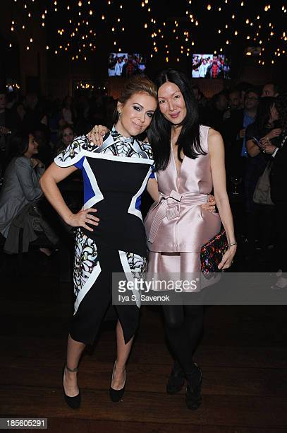 Actress Alyssa Milano and Designer Marissa Webb attend the Project Runway All Stars Season 3 premiere party presented by The Weinstein Company and...