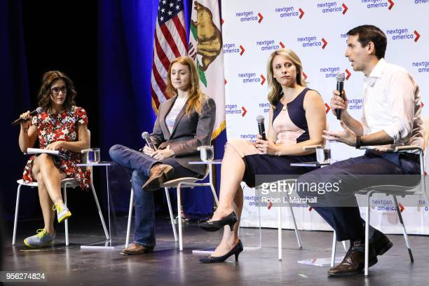 Actress Alyssa Milano and Politicians Jess Phoenix; Katie Hill and Bryan Caforio attend the 25th Congressional District Democratic Candidate Debate...