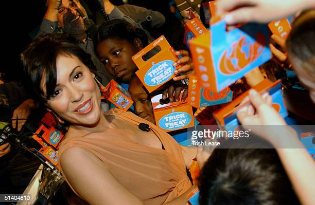 Actress Alyssa Milano announced that she will serve as the national spokesperson for the 2004 TrickorTreat for UNICEF campaign on October 5 2004 in...
