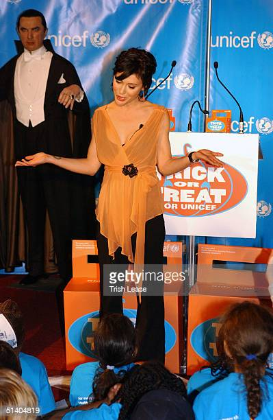 Actress Alyssa Milano answers questions at a press conference in which she announced that she will serve as the national spokesperson for the 2004...
