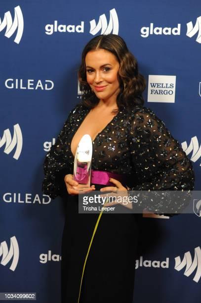 Actress Alyssa Milano Ariadne Getty Ally Award recipient 2018 GLAAD Gala San Franciscoat Hyatt Regency San Francisco on September 15 2018 in San...