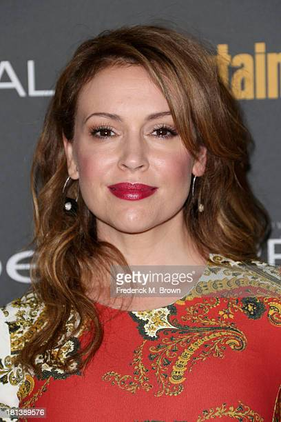 Actress Alyssa Milano arrives at Entertainment Weekly's Pre-Emmy Party at Fig & Olive Melrose Place on September 20, 2013 in West Hollywood,...