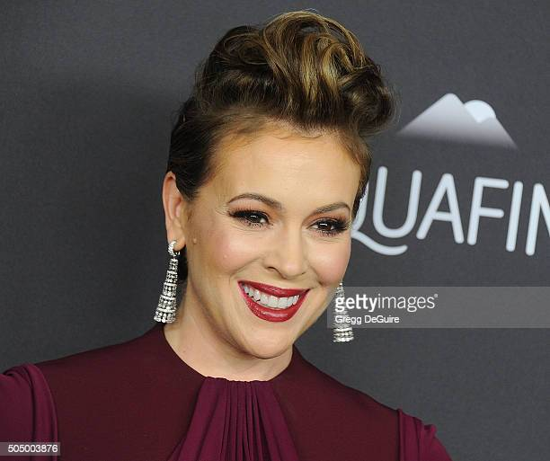 Actress Alyssa Milano arrives at the 2016 InStyle And Warner Bros 73rd Annual Golden Globe Awards PostParty at The Beverly Hilton Hotel on January 10...