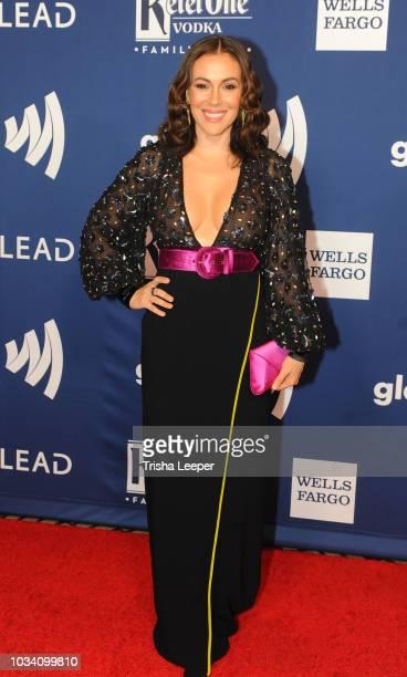 Actress Alyssa Milano arrives at the 2018 GLAAD Gala San Franciscoat Hyatt Regency San Francisco on September 15 2018 in San Francisco California