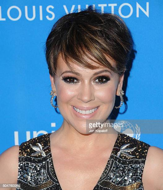 Actress Alyssa Milano arrives at the 6th Biennial UNICEF Ball at the Beverly Wilshire Four Seasons Hotel on January 12 2016 in Beverly Hills...