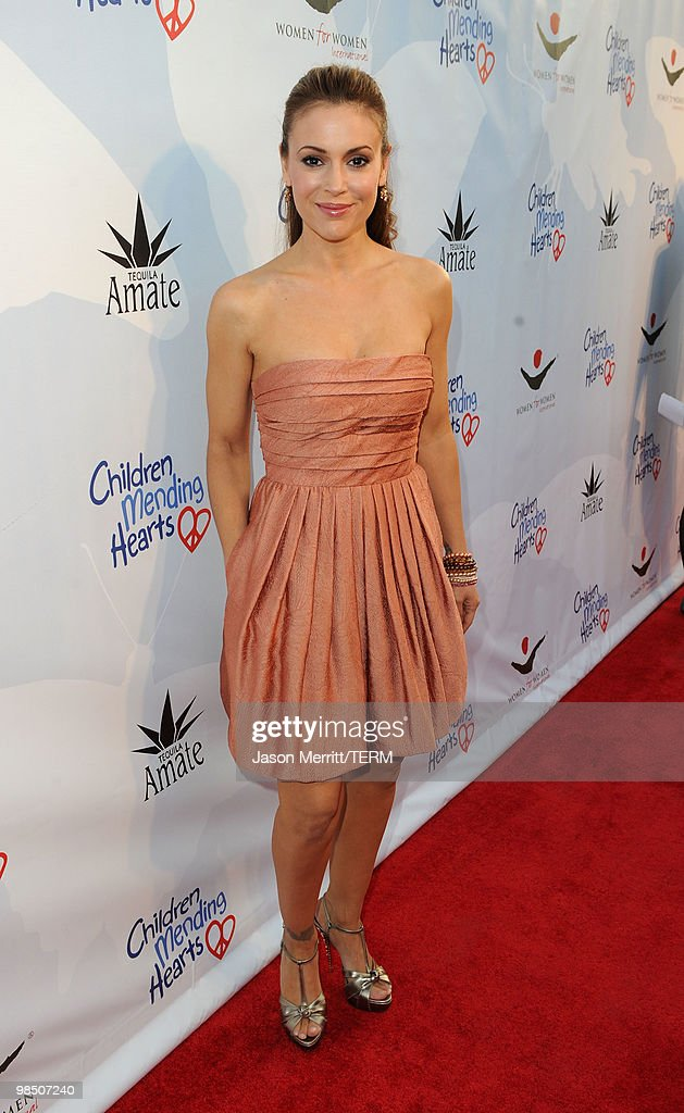 Actress Alyssa Milano arrives at the Children Mending Hearts 3rd Annual 'Peace Please' Gala held at The Music Box at the Fonda Hollywood on April 16, 2010 in Los Angeles, California.