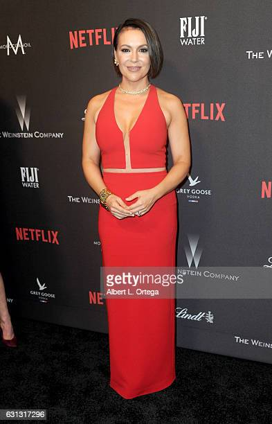Actress Alyssa Milano arrives for the 2017 Weinstein Company And Netflix Golden Globes After Party on January 8 2017 in Los Angeles California