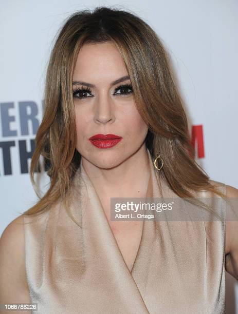 Actress Alyssa Milano arrives for the 32nd American Cinematheque Award Presentation Honoring Bradley Cooper held at The Beverly Hilton Hotel on...