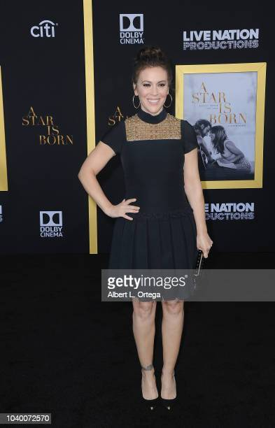 Actress Alyssa Milano arrives for the Premiere Of Warner Bros Pictures' 'A Star Is Born' held at The Shrine Auditorium on September 24 2018 in Los...