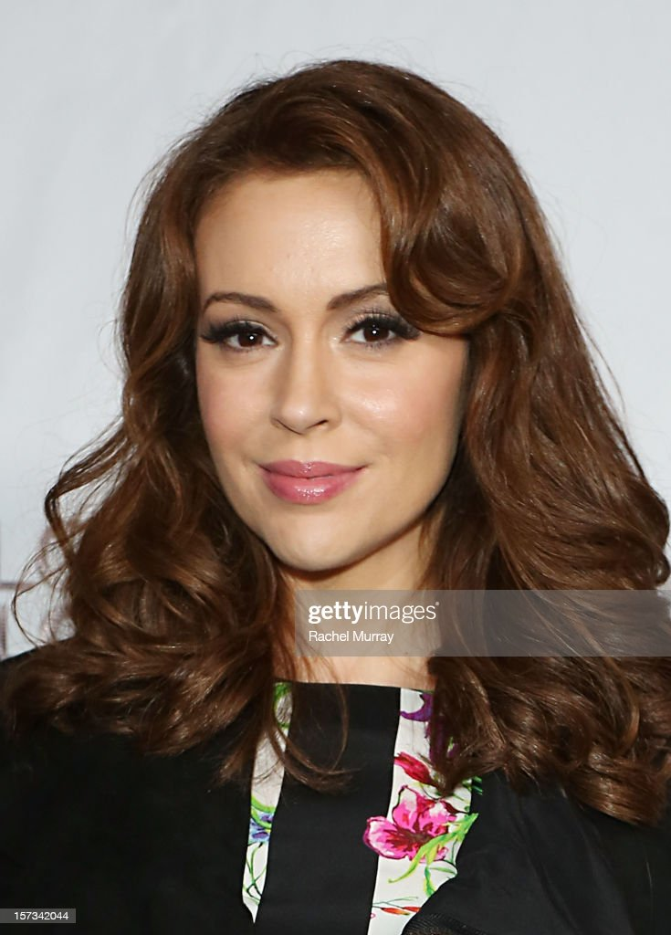 Actress Alyssa Milano attends Chaz Dean's holiday party benefitting the Love is Louder Movement on December 1, 2012 in Los Angeles, California.