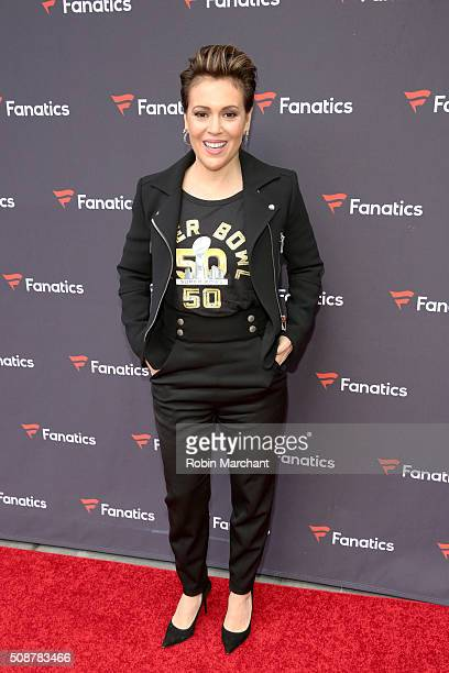 Actress Alyssa Milano attends Fanatics Super Bowl Party on February 6 2016 in San Francisco California