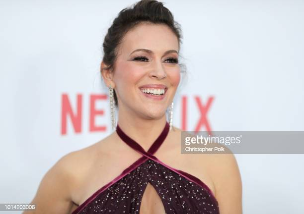 Actress Alyssa Milano attends Netflix's Insatiable Season 1 premiere at ArcLight Hollywood on August 9 2018 in Hollywood California