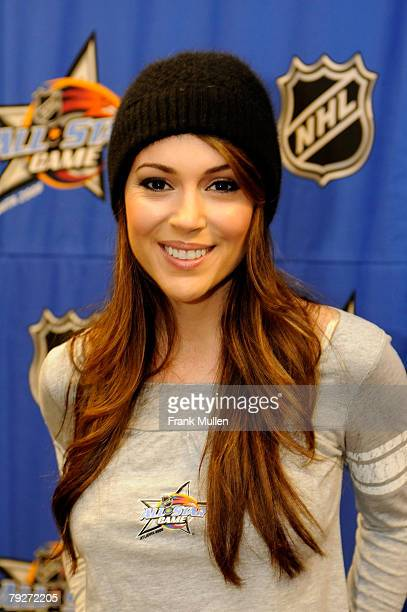 Actress Alyssa Milano attends the NHL Rocken' Skate 2008 Presented by Upper Deck as part of the 2008 NHL AllStar weekend at Philips Arena on January...
